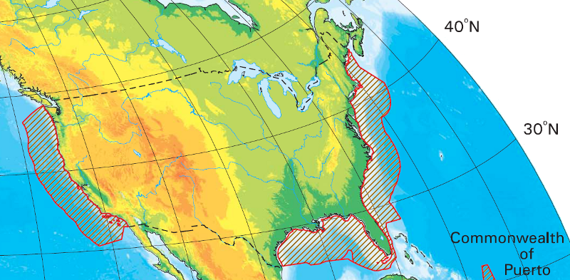 u s continental shelf boundary areas do not extend 200 miles off the southeast coast of florida