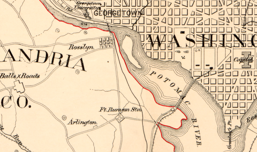 Virginiadistrict Of Columbia Boundary: Map Of Washington Dc In 1860 At Usa Maps