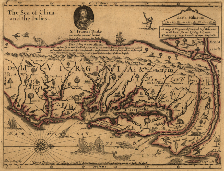 John Farrer S 1667 Map Showing Presumed Location Of Pacific Ocean Just West Of The Blue