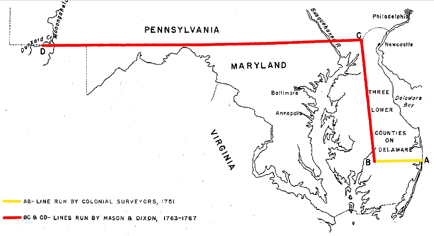 VirginiaPennsylvania Boundary - Us map with mason dixon line