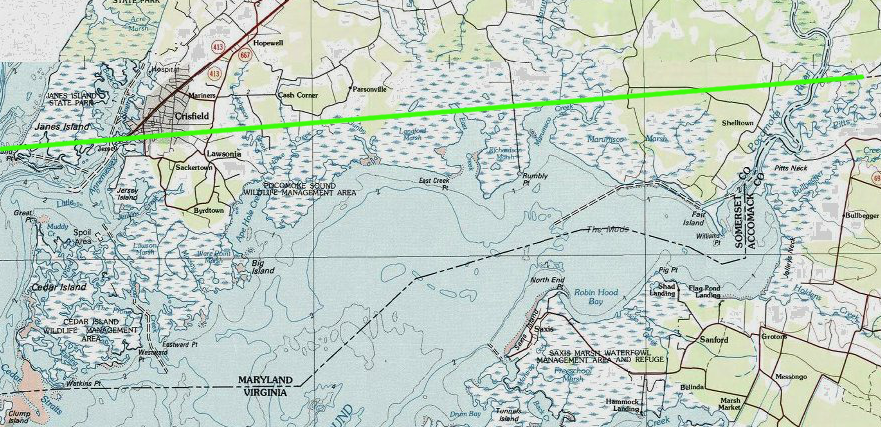 VirginiaMaryland Boundary For Chesapeake BayEastern Shore - 38th Parallel Us Map