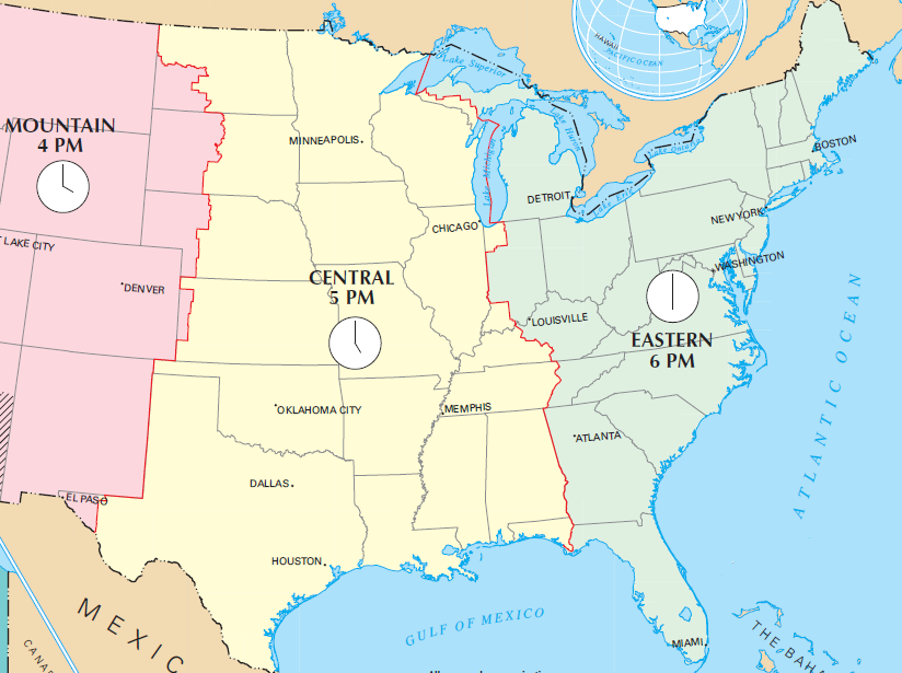 Eastern Time Zone Map In the Eastern Time Zone