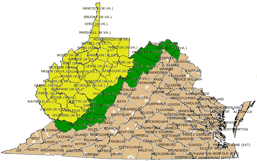 VirginiaWest Virginia Boundary - State of west virginia map