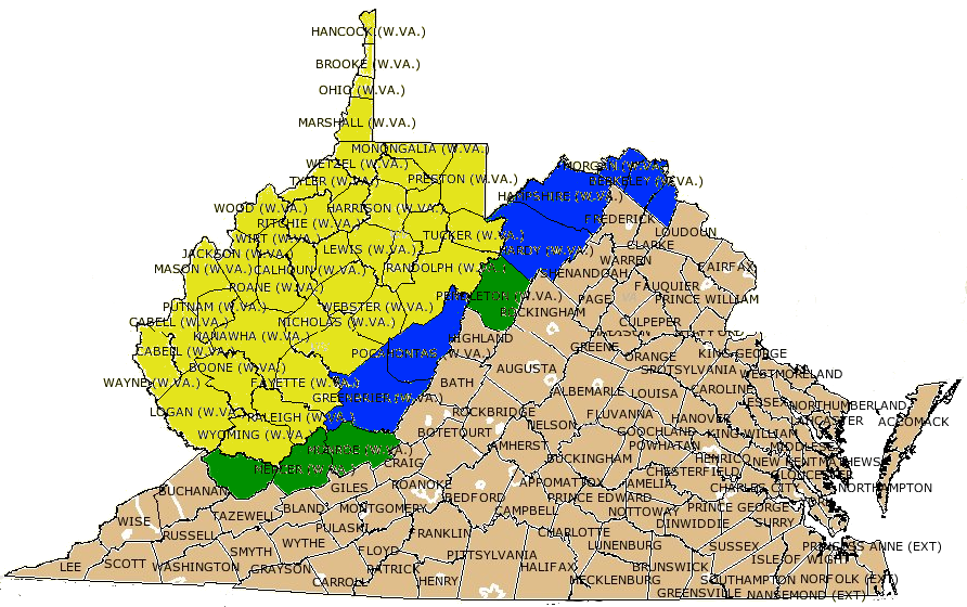 VirginiaWest Virginia Boundary - Counties of va map
