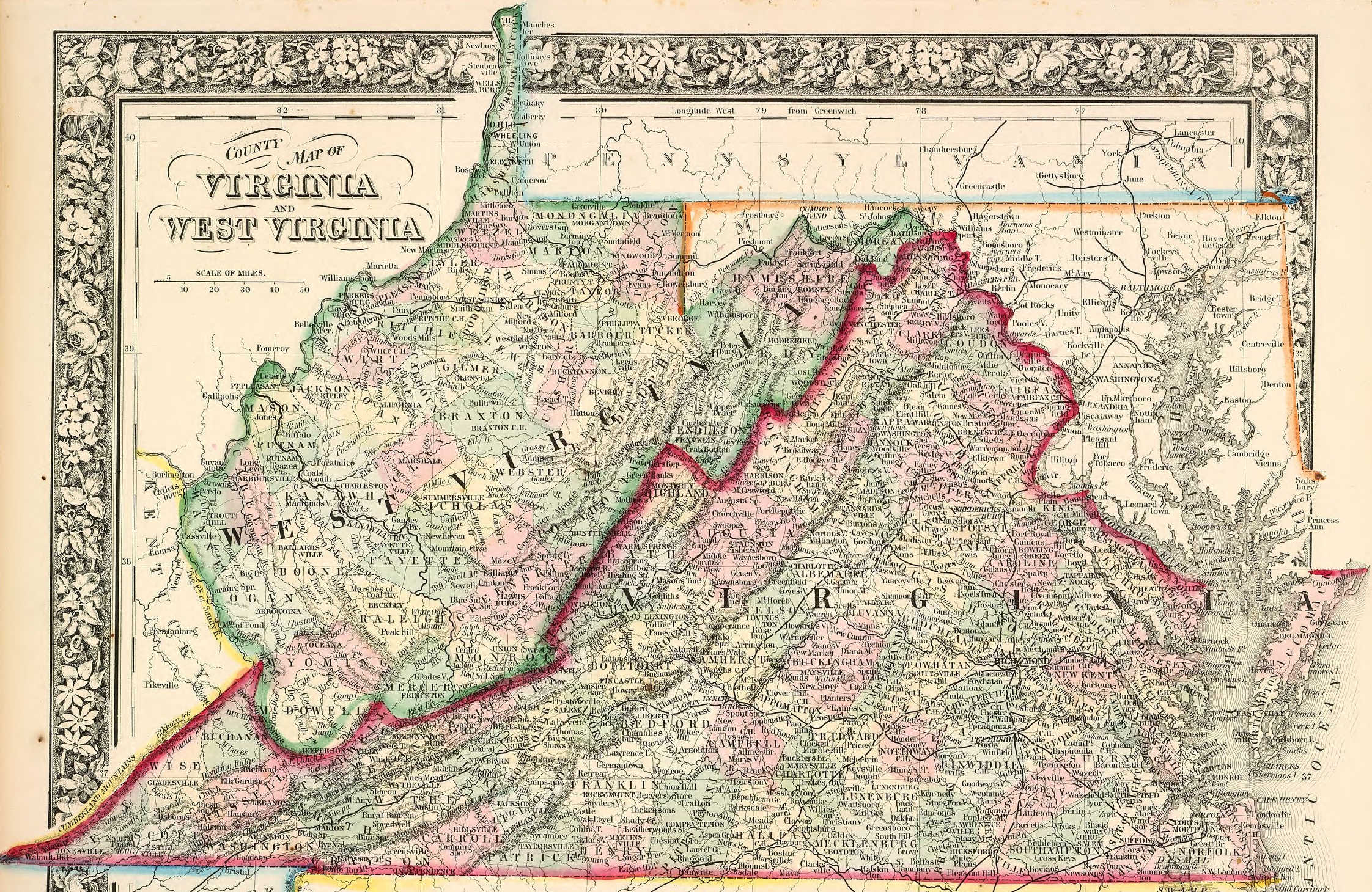 VirginiaWest Virginia Boundary - Wv map with cities and counties