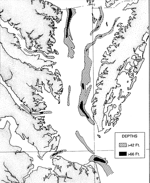Depths In The Chesapeake Bay Reflect Erosion By Rivers Prior To Sea Level Rise That