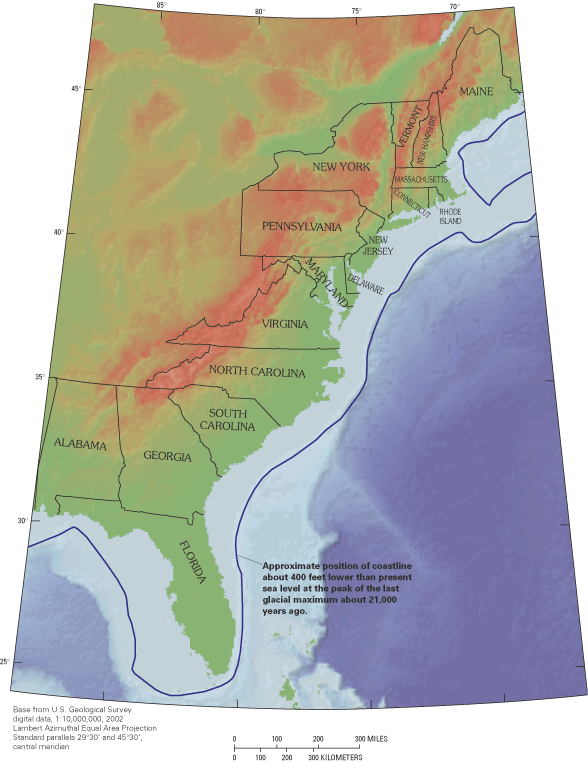 Chesapeake Bay Geology And Sea Level Rise - Map of how last ice age affected us