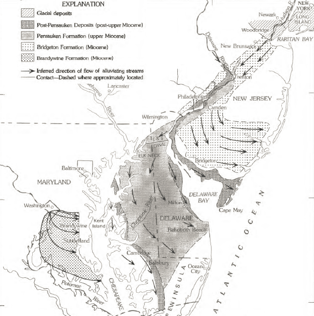 Deposition From The North In Pliocene Epoch Prior To Southern Extension Of Delmarva Peninsula In
