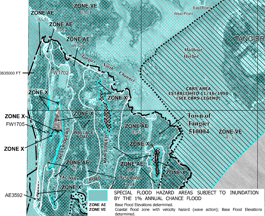 Tangier Island - Us army corps of engineers 100 year flood maps