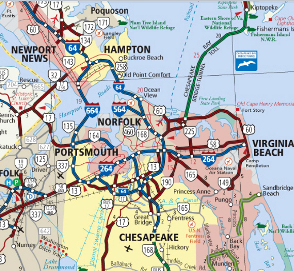 Highway Map Of Hampton Roads