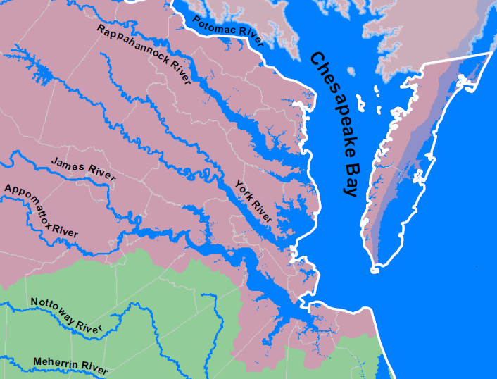 Where Is Tidewater In Virginia Hampton Roads - East coast rivers map