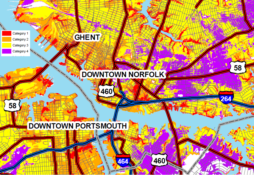 Areas In Norfolk Portsmouth Expect To Be Flooded By Storm Surge From Category 1
