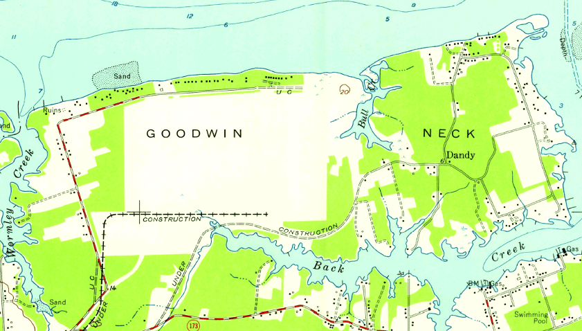 site of future oil refinery on goodwin neck at yorktown 1955