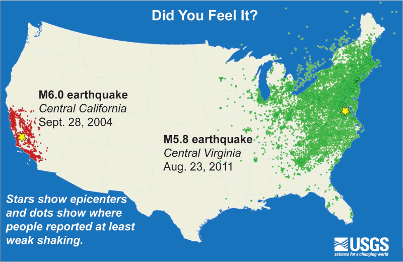 earthquakes are felt at greater distances in the eastern part of north america because bedrock