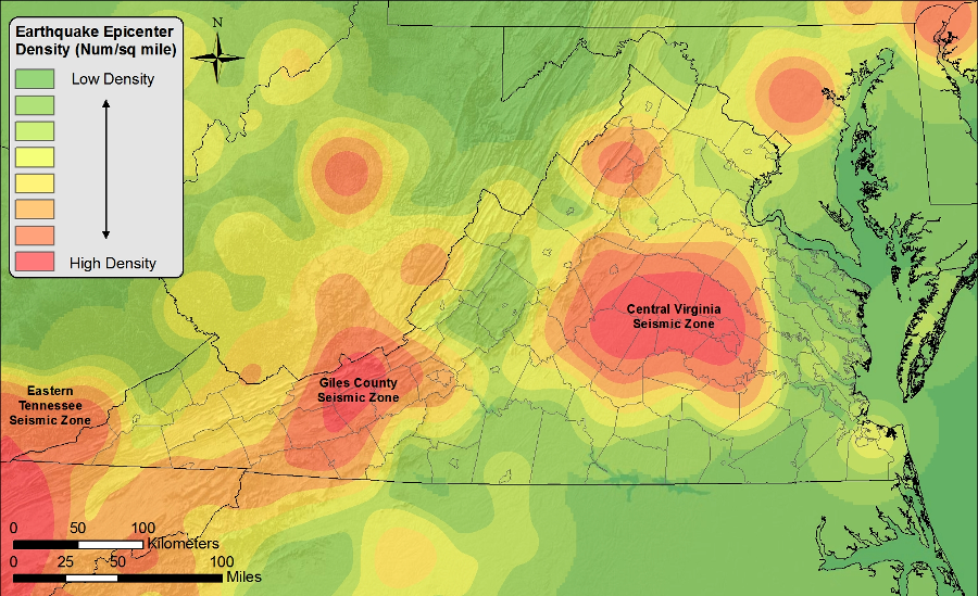 Earthquakes In Virginia - Seismic map of us