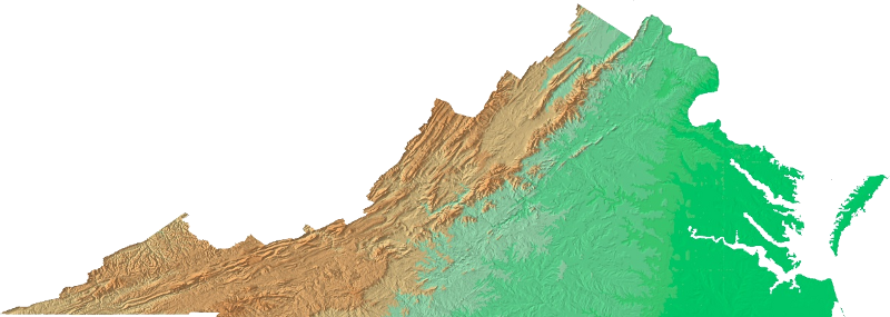 Relief Map Of Virginia.Topography Of Virginia