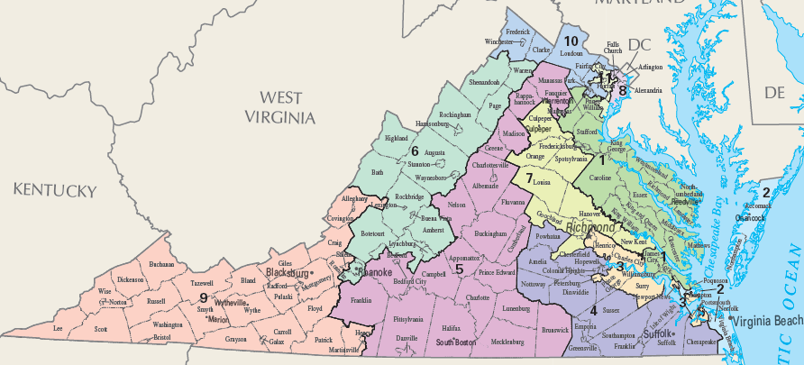 Congressional Districts Of Virginia Geography Of Virginia - Us congress election map