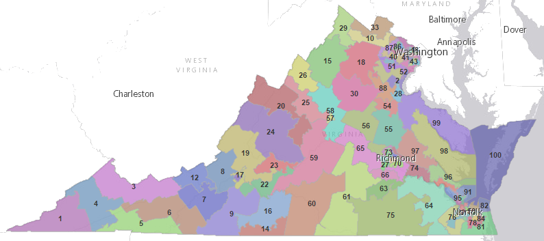 the boundaries of the 100 house of delegates districts include more acres in rural districts with