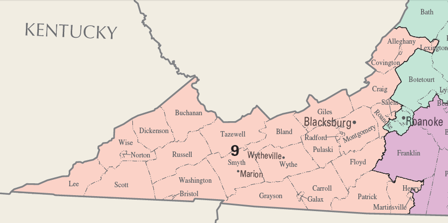 Image result for virginia 9th congressional district