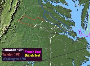 movements of Cornwallis, Tarleton, and Washington in 1781