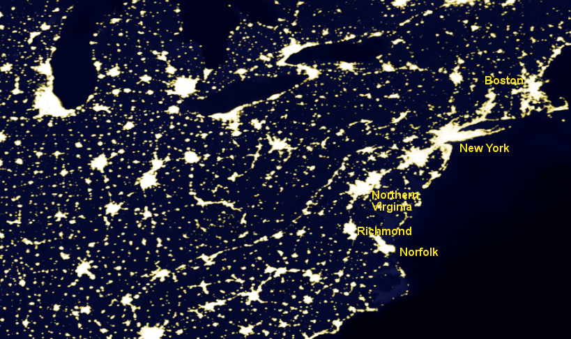 urbanized areas of Virginia with relatively-dense development can be identified by looking at the pattern of lights at night