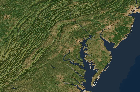 Mid-Atlantic topography - North Carolina to Pennsylvania
