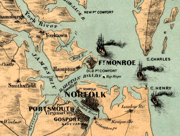 Fort Monroe and Rip Raps (site of Fort Calhoun, renamed Fort Wool) in 1861