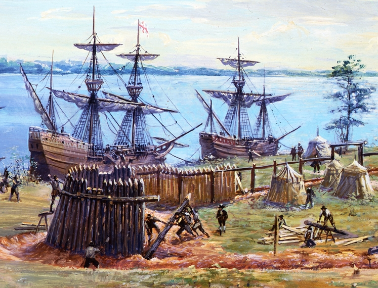 building the Jamestown fort in May, 1607