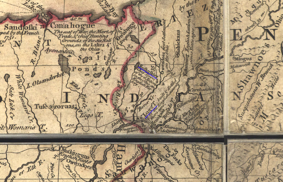 John Mitchell S 1755 Map Of English Claims In North America Displayed The Location Of Kuskusky And