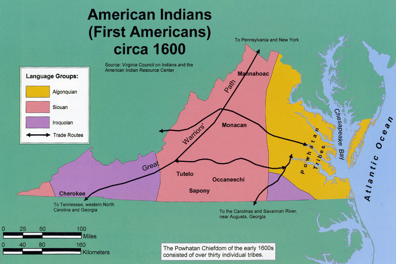 Indian Tribes In Us Map.Native American Tribes In Virginia Since Contact
