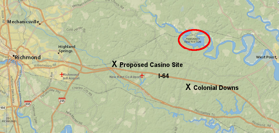 two gambling centers were proposed on I-64 east of Richmond, one by the Pamunkey tribe and one at the former Colonial Downs racetrack - and then Norfolk became an option in 2018