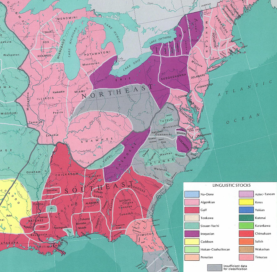 Major Linguistic Groups Native American Map.Three Linguistic Groups Of Colonial Virginia