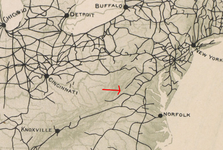 in 1870 alexandria was connect to bristol on the east side of the blue ridge