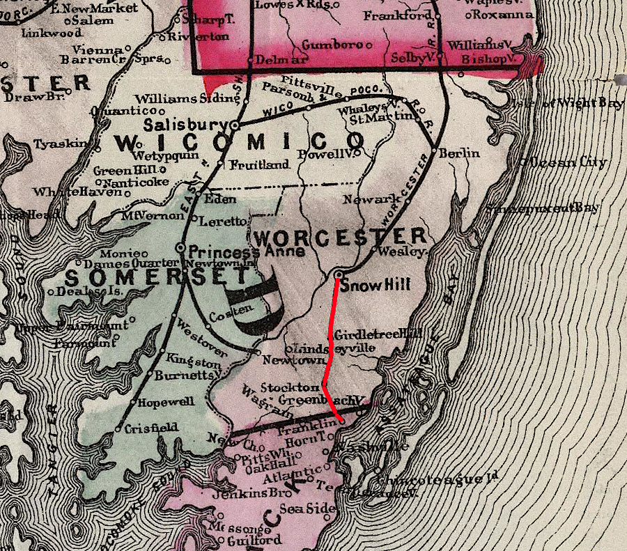 Map Of Virginia And Maryland Cities.Bay Coast Railroad In Virginia