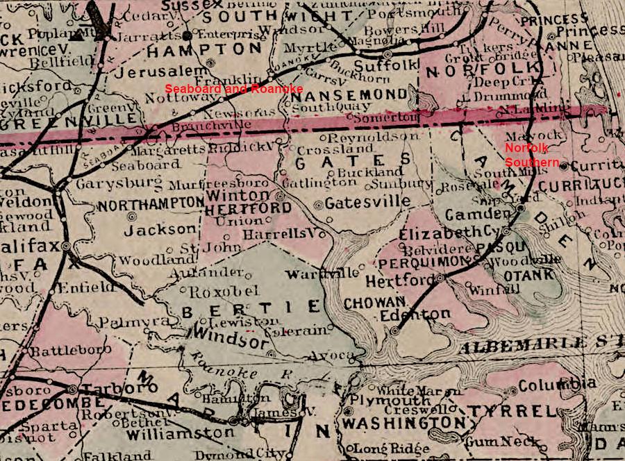 Norfolk & Carolina Railroad on ma railroad map, gt railroad map, nys&w railroad map, sp railroad map,