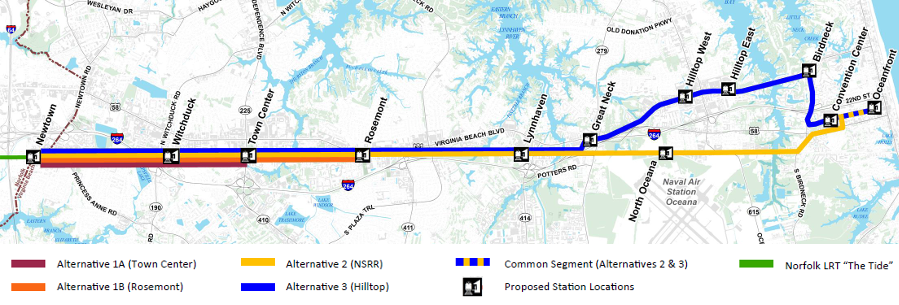 Alternatives Considered For The Light Rail Extension From Norfolk Into Virginia Beach Included Options Beyond Town