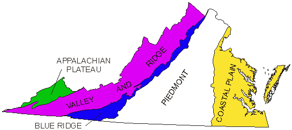 Geographic Regions Of Virginia Map.Physiographic Regions Of Virginia