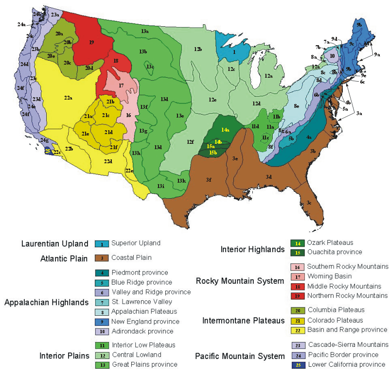 Physiographic Regions Of Virginia - Us map divided into 4 regions