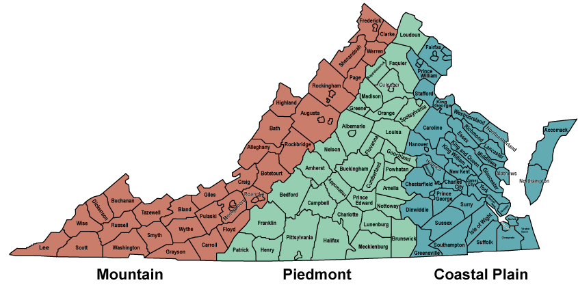 Geographic Regions Of Virginia Map.Piedmont Geography Of Virginia