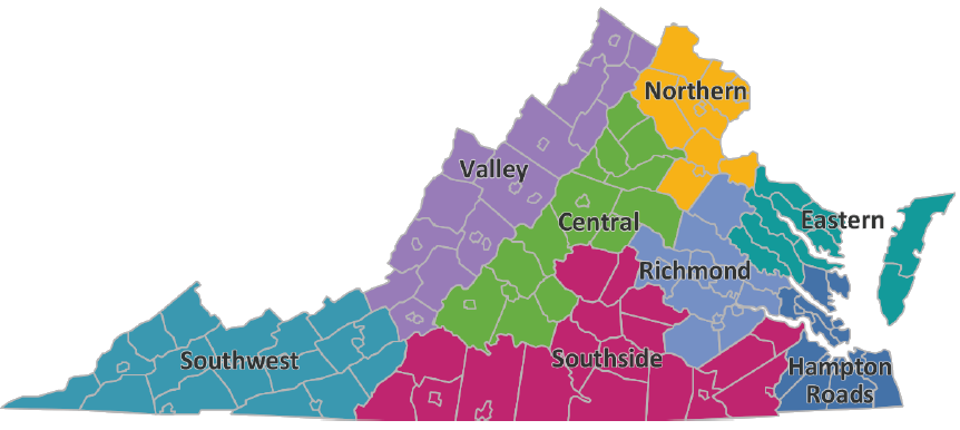 Geographic Regions Of Virginia Map.Regions Of Virginia