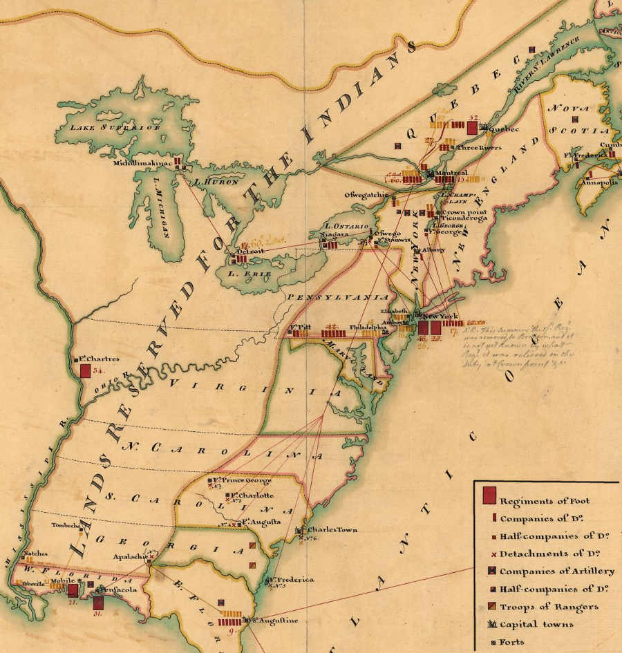 The Proclamation Line Of - Map of us during 1763