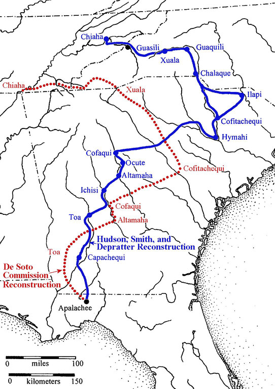 possible paths of Hernando de Soto expedition through the Southeast, 1539-40