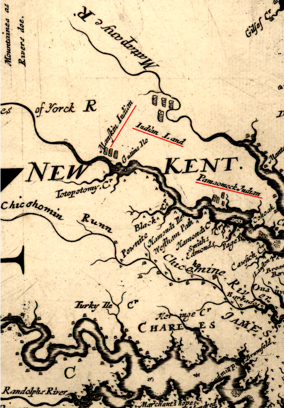 Lands North Of The Pamunkey River Were Reserved As Indian Land Populated With Monacan And