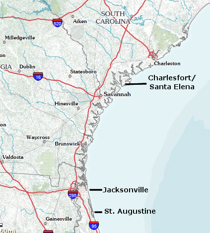 Spanish settlements in the Southeast