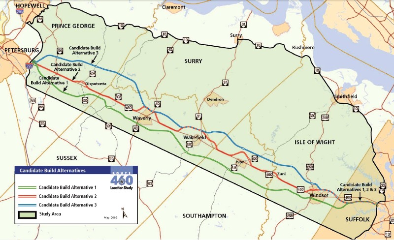 US A Highway Across Virginia - Us 460 map