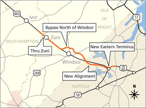 US A Highway Across Virginia - 4 lane highway map of us