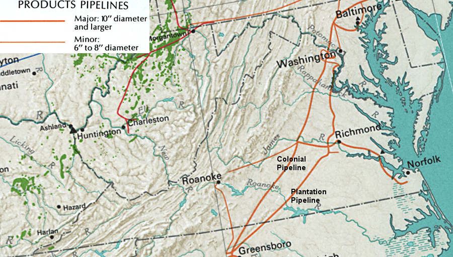 as shown in this 1970 map the colonial pipeline carries refined petroleum products such as