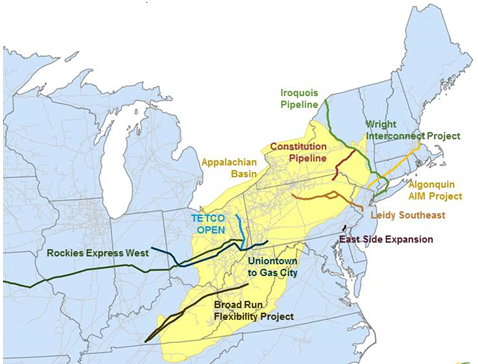 Map Of Us Pipeline Network As The Natural Gas In The Marcellus - Us fracking map