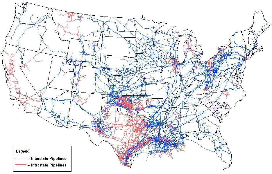 network of natural gas pipelines in the us