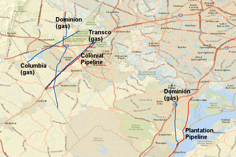colonial pipeline and plantation pipeline carry gasoline and distillates through prince william county gas pipelines